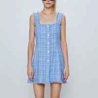 Zxqj élégant femme tweed soleil robe été mode femme vintage gem bouton robes robes de robe midi féminine féminine filles chic 210317