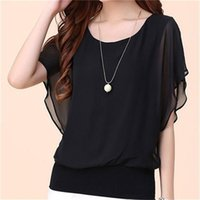 Women's Blouses & Shirts Summer Style Women Fashionable O-Neck Chiffon Bat Sleeve Solid Color Loose Tops BlusasMM0150