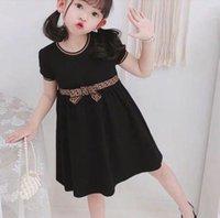 Meninas de luxo meninas dress kids letra f bowknot verão manga curta crianças roupas casuais roupas, tamanho 100-140cm
