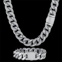 Pendant Necklaces Luxury Zircon CZ Hip Hop Miami Cuban Link Chain 19mm Large Bracelet Men Necklace Drop Fashion Rapper Jewelry Wholesale
