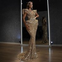 New Arrival 2022 Sleeveless Gold Mermaid Evening Dresses Gowns For Woman Night Wear Party Plus Size Abendkleider