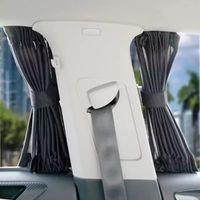 2 x Güncelleme 70L Ayarlanabilir Araçlar Elastik Araba Yan Pencere Güneşlik Perdeleri Otomatik Windows Sun Visor Panjur Kapak
