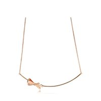 NEW 2021 100% 925 Sterling Silver Rose Gold Bow Necklace Fit DIY Original Fshion Jewelry Gift 111