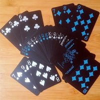 Siyah Texas Holdem Klasik Reklam Poker Su Geçirmez PVC Öğütme Dayanıklı Kurulu Rol Oynama Oyunları Sihirli Kart 10 Set Poker
