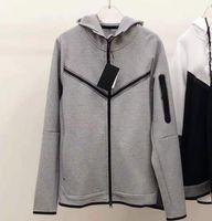 men jacket Tech fleece zipper hoodie autumn leisure sports chest rubber strip hooded seven-color cardigan coats