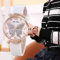 Designer Luxus Marke Uhren Strass Schmetterling Zifferblatt Frauen ES Mode Lederband Quarz Elegant Casual Damen Handgelenk