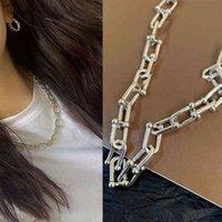 Collana d'argento per le donne solide a forma di u a forma di u a forma di ferro di cavallo coppia 925 gioielli sterling all'ingrosso