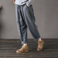 Pantalons Femmes Capris Nefeilike Femmes 2021 Automne Hiver Taille élastique Pantalon décontracté Poches de coton tricoté Bref Vintage Harem