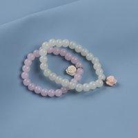 Moda Mulher Natural Gemstone Frisado Strand Ametista / Hematita / Sabonete Pedra / Glass Rose Bangle Bracelet para Mulheres e Homens Esticamento