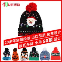 Hats Knitted children's Jacquard printing winter christmas LED lamp HAT wool factory order