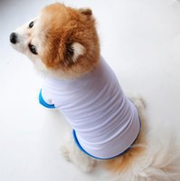 Sublimation Dog Clothes White Blanks Puppy Shirts Solid Color Small Dogs T Shirt Cotton Dog Outwear Pet Supplies 2 Colors 60pcs YG987