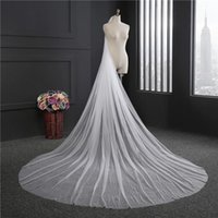 Bridal Veils 2021 Elegant Long Wedding Veil With Combe One Layer Tulle Cut Edge 200CM 300CM Accessories
