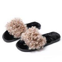 حليقة النساء النعال برشام القطن الشتاء عدم الانزلاق الطابق المنزل فروي الأحذية الدافئة زحافات B22