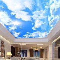 Carta da parati personalizzata 3D Photo murale Papel de Parede Blue Sky White Nuvole Sole Sole Sole Grande sfondi murali per la decorazione del soffitto