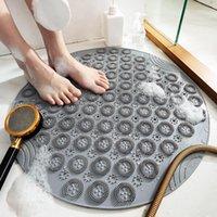 Bath Mats Round Shape Solid Color Home Bathroom Non-slip Door Floor Mat Cushion Carpet Pad