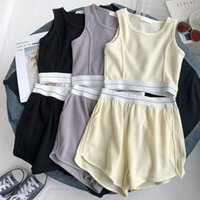 Gym Clothing Summer Waffle Yoga Suit Short Vest Loose Casual Wide-leg Shorts Women's Outer Wear Sportswear Two-piece Sweat Suits