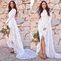 Bohemian High Low Lace Wedding Dresses Bridal Gowns A Line Long Sleeve Country Boho Beach Bride Dress Split Front Ivory And Champagne