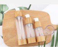15ml30ml50ml de bambou naturel comme bouteille sans air cosmétique transparent pompe pompe voyage transportant des bouteilles de lotion de toner cosmétique BWF7190