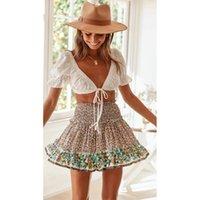 Skirts Bohemian Beach Style High Waist Floral Skirt Summer Women Lace Up A Line Short Jupe Falda Mujer