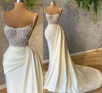 2021 Plus Size Arabic Aso Ebi Luxurious Beaded Pearls Wedding Gowns Spaghetti Mermaid Satin Sexy Bridal Dresses ZJ514