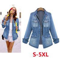 High Quality Denim Jackets Women 2020 Autumn Fashion Long Sleeve Jeans Coat Casual Denim Outwear Tops Plus Size 5XL CX200814