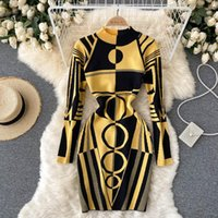 Casual Dresses SINGREINY Women Design Print Knitted Dress Long Sleeve O Neck Elastic Slim Pencil Autumn Winter Sexy Bodycon Sweater