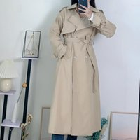 Women's Trench Coats French Elegant Solid Long Woman Sleeve Double Breasted Fashion Windbreaker Femme Slim Waist Lace Up Fall