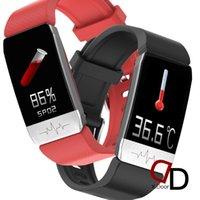 سوار الذكية معصمه ووتش T1 T1S الجسم درجة حرارة smartwatch للماء معدل ضربات القلب مع ميزان الحرارة reloj inteligente النساء الرجال