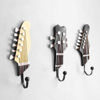3pcs set Multi-purpose Retro Style Guitar Heads Home Hooks Resin-made Clothes Hat Hangers Durable Wall-mounted Bag Purse Holder & Rails