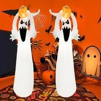 Cadılar bayramı dekorasyon kostüm parlayan küçük hayalet kabak ile açık beyaz hayaletler ağacı şişme bahçe süslemeleri şişme