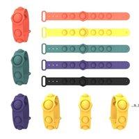 Braceletes sensoriais Empurre Bubble Pop Fidget Brinquedos Decompression Chaveiro Puzzle Press Brinquedo de Dedo Bubble Stress Bracelet Pulseira EWB5749