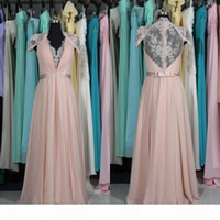 Stunning Real Picture Bridesmaid Dresses Blush Pink Wedding Party Guests Gowns V Neck Lace Cap Sleeves Beaded Sash Long Cheap Prom Gown