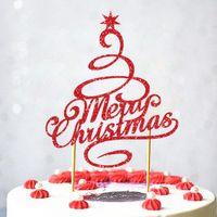 Другие праздничные партии поставки Счастливого Рождества с шляпной торт топпер флаги рога деревьев кекс топперы украшения счастливый год выпечки GWD9490