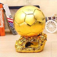 Novel Home Decoration Football Champion Trophy Golden Ball Soccer Fan Souvenirs Resin Craft Keepsake Trophies Gifts