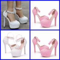 Sandals Queen crystal wedding sandals, high-heeled shoes, two-inch, round-tipped, with white lace SXYO