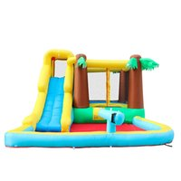 Garden Supplie Wild Jungle Palm Tree Inflatable Bouncer Water Slide For Kids Happy Hop Bouncy Slides Waters Park Kid Pool Bounce House Playhouse Gun Yard Party Play