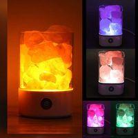 Ночные огни 1 шт. USB Зарядка Кристалл Соленая лампа Света гостиной Света Портативный Специальный случай Черный / Белый Прекрасный Спальня