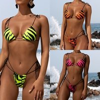 String Bandage Badeanzug Frau Badeanzug Weibliche Tierdruck 2 Stück Bikini Set Sexy Neon Rosa Swimwear Frauen Biquini Q0521