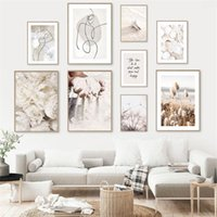 Paintings Flower Beach Shell Dandelion Art Canvas Painting Abstract Line Print Sand Hand Nordic Wall Pictures For Living Room DecorPoster