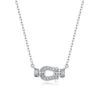 925 Sterling Silver Horseshoe Pendant Necklace With Clear Cu...