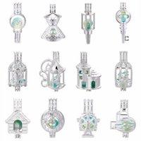 Kolye 5 adet Gümüş Birdcage Etek Inci Kafes Madalyon Uçucu Yağ Difüzör Kolye Takılar Oyster DIY Küpe Yapımı Kolye
