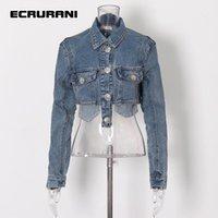 Women's Jackets ECRURANI Patchwork Casual Blue Denim Jacket For Women Lapel Long Sleeve Dual Pocket Short Coats Female 2021 Fashion Clothing