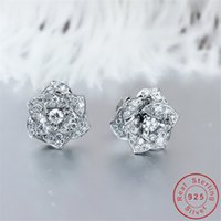 Flower Diamond Stud Earring Real 925 sterling silver Jewelry 24K Gold Engagement Wedding Earrings for Women Bridal Party Gift