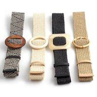 Belts Women Wide Braided Elastic Belt For Dress Round Bamboo Buckle Casual Fashion Girdle Wood Jade Fake Straw Waistband