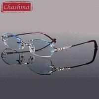 Chashma Brand Eyeglasses Diamond Trummed Очки без оправа Титана Модная Леди Очки Очки Очки Очки Очки Очки Очки Женские 210323