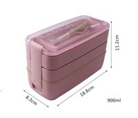 Wheat Straw Healthy Material Lunch Box 3 Layer 900ml Straws Bento Boxes Microwave Dinnerware Food Storage Container sea shipping DWD9153
