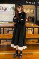 검은 고스 드레스 긴 소매 여자 streetwear 공주 중세 드레스 학생 preppy 파티 옷 xrtg