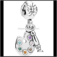 Loose Beads Jewelryoriginal 925 Sterling Sier Charm Cute Artists Palette With Crystal Pendant Bead Fit Pandora Bracelet & Necklace Jewelry Ps