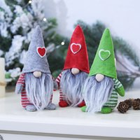 Merry Christmas Heart Hat Swedish Santa Gnome Plush Doll Ornaments Handmade Elf Toy Home Party Decoration Gift w-00767