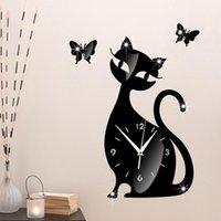 Wall Clocks Clock Cat Mirror Black Modern Design Home Decor Watch